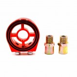 Oil Filter RED Adapter Sandwich Plate Mount Gauge Pressure Temp Sensor